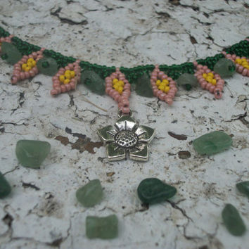 Rosemary's Garden Insprired Pink and Green Leaf-stitch Seed Bead Collar Necklace w/ Green Aventurine Beads and Flower Charm