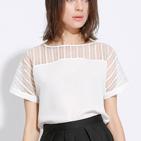 White Striped Organza Panel Chiffon T-Shirt