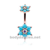 Rose Gold Turquoise Spring Flower Sparkle Prong Set Belly Button Ring Stainless Steel Body Jewelry