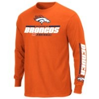 NFL Denver Broncos Men's Primary Receiver IV Long Sleeve Tee, Classic Orange, X-Large