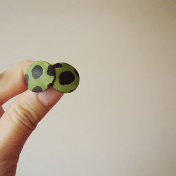 Leather Stud Earrings, Green Leather Earrings, Animal Print, Leather Jewelry, Round Studs, Summer Jewelry, Leopard Print, Retro Style