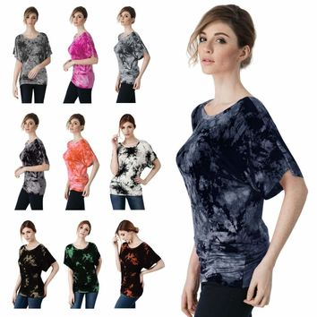 Women Short Sleeve Dolman Drape Top Loose T-Shirt (XS~3XL)