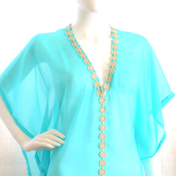 short kaftan dress cover up kaftan mini sheer beach cover up turquoise blue caftan