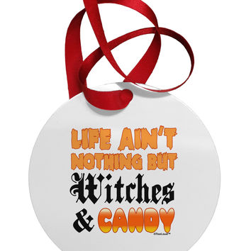 TooLoud Witches and Candy Color Circular Metal Ornament