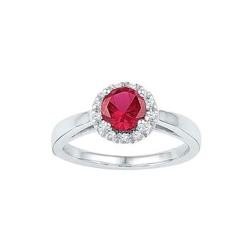 10k White Gold Women's Lab-created Ruby & Diamond Cocktail Ring - FREE Shipping (US/CA)