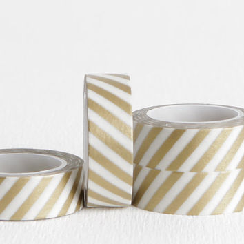 Slanted Vertical White and Gold Stripe Washi Tape, Great for All Occasion and Holiday Wrapping, 15mm x 10m