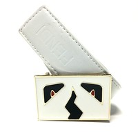 Fendi Monster Belt White Leather Men's 34 Designer Birthday Gift
