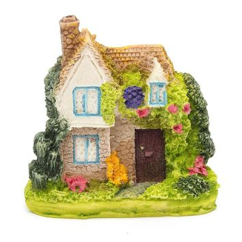 Resin Fairy Garden Miniature Thatches House Landscape Ornament Figurine For Garden Decoration Random Styles