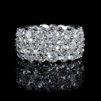 11.91ct Diamond Three Row 18k White Gold Eternity Wedding Band Ring