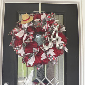 Deluxe Alabama Roll Tide Wreath, Alabama Door Hanger, Deco Mesh Wreath, Door Hanger