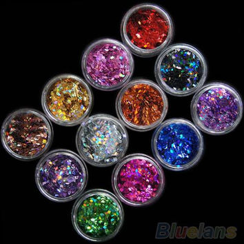 12pcs 12 Colors Nail Art Acrylic 3D Rhombus Glitter Shape Sequins Powder Set 1QDY 4BPS