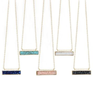 Small Gift High Quqality Various Color Resin Druzy Vertical Bar Necklace Highly Polished Metal Pendant for Women Christmas Gift