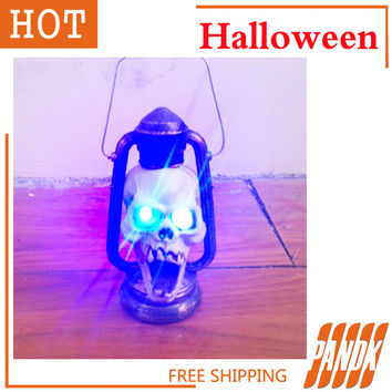 Animated Skeleton Reaper Halloween Haunted house decorated Halloween party props terrorist skulls portable lantern Free Shipping