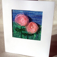 "Handmade flower card - stitched art card - 3.5"" x 4.25"""