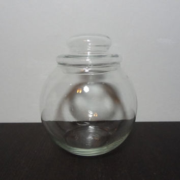 Vintage Clear Glass Round Apothecary Jar with Bubble Top