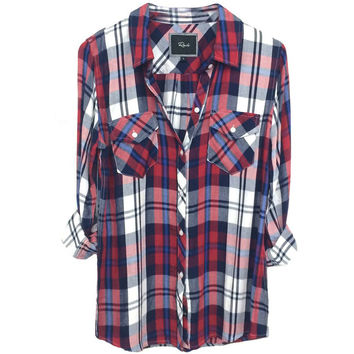 Little Rails Tyler Button Down Shirt - Cherry/Navy