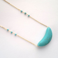 Long Turquoise Crescent Necklace With Stone Beads Turquoise Moon Pendant Rosary Necklace Chain Turquoise Crescent Jewelry Boho Tribal Stone
