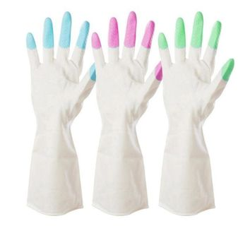 1 Pair Winter Kitchen Chores Clean Waterproof Rubber Gloves Durable Ho