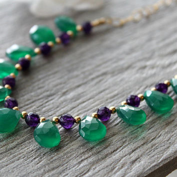 Green Onyx and Amethyst Necklace, Emerald Green, Green Gemstone, May Birthstone, 14k Gold filled  Green Teardrop Necklace