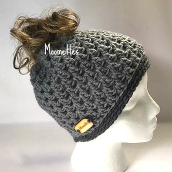 Handmade Messy Bun Beanie Gray Grey Ponytail Hat Wood Button Crochet Runner Cap