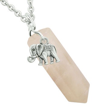 Lucky Elephant Charm Magic Powers Amulet Crystal Point Pendant Rose Quartz 22 Inch Necklace