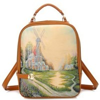 New Fashion Vintage Picture Print Women Pu Leather Backpack Daypack School Shoulder Bookbag Hand Bag