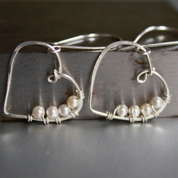 Heart Earrings, Sterling Silver and Pearl, Wire wrapped Jewelry