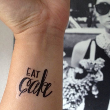 Temporary Handwritten Eat Cake Tattoo