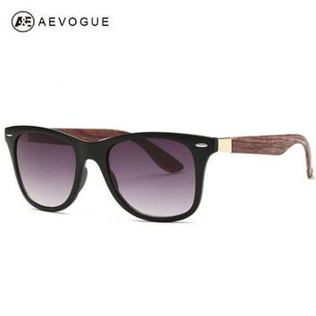 AEVOGUE Men's Sunglasses Aritificial Wood Grain Temple Brand Design Summer Style Unisex Sun Glasses Vintage Oculos De Sol AE0327