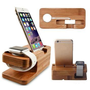 Charger For Apple Watch Charging Dock Wood Charger Stand Holder For iPhone 5s 6