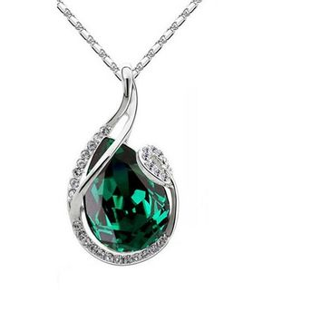 Crystal Water Tear Drop Pendant Necklace