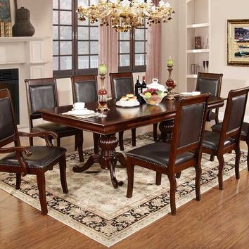 7 pc Elizabeth II collection espresso finish wood double pedestal dining table set