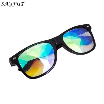 SAYFUT Kaleidoscope Cool Glasses Rainbow Prism Diffraction Crystal Lens Sunglasses Goggles Steampunk Welding Punk Gothic Cosplay