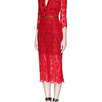 Red Lace Zipper Midi Dress