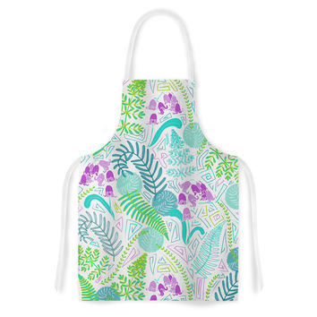 "Anneline Sophia ""Fern Forest"" Blue Teal Artistic Apron"