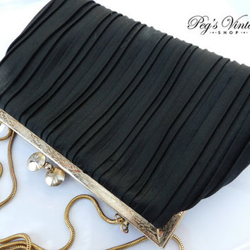 Black Pleated Satin Cloth Clutch, Henry Birks, Evening Bag, Formal Purse, Gold Chain, 60's Purse Hong Kong