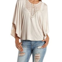 Taupe Lace-Up Crochet-Bib Poncho Top by Charlotte Russe