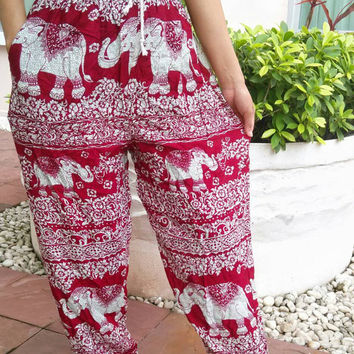 Red Elephant Yoga Pants Tribal Harem Boho Printed Casual Aladdin Fisherman Native Hippie Massage pant Gypsy Thai Dress Baggy Men Hippy Cloth