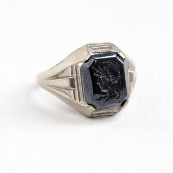 Antique Art Deco Men's Simulated Hematite Roman Soldier Cameo Ring- 1930s Gray Glass Silver Tone Costume Jewelry