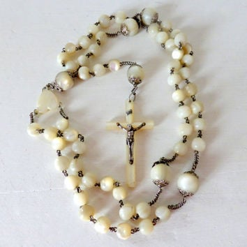 Antique French Mother Of Pearl Rosary, Large Beads