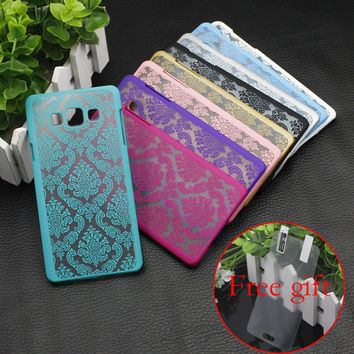 Retro Damask Pattern Engraved Matte Phone Case Cover For Samsung Galaxy A3 A3000 A5 S7 edge S6 S5 S4 Note 5 4 3