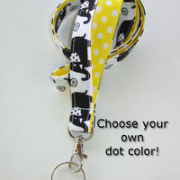Lanyard  ID Badge Holder - Black Elephants with polka dots yellow, aqua, pink, or blue  - Lobster clasp and key ring