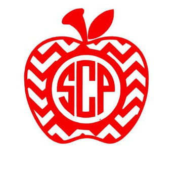 Apple Teacher Appreciation Decal Chevron Apple Monogram Apple Decal