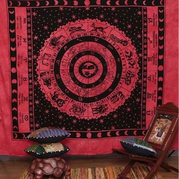 Indian Zodiac Tapestry - ASTROLOGY Horoscope Hippie Hippy Curtain Wall Hanging Throw Bedspread Bed Decor Sheet Ethnic Decorative Art