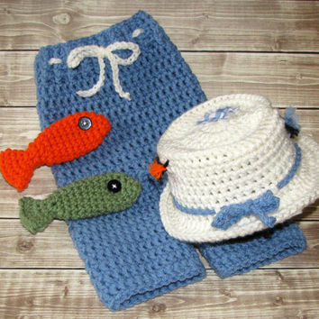Crochet Fly Fishing Hat and Pants, Fishing Photo Prop, 3 to 6 Months, Blue Baby Pants