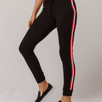 FULL TILT Stripe Jogger Black Womens Sweatpants