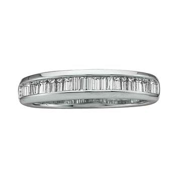 14kt White Gold Women's Baguette Diamond Wedding Anniversary Band 1/2 Cttw - FREE Shipping (US/CAN)