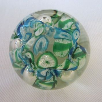 Exclusive Lefton Japan Millefiore Glass Paperweight Green Blue Flowers