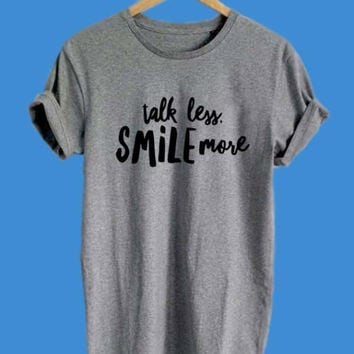 Talk Less Smile More Logo Alexander Hamilton Shirt Black Gray White Maroon Color T Shirt Men and Woman Unisex T-Shirt Size S-XL
