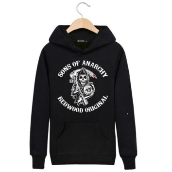 Sons of anarchy chaos son plus velvet hood tide brand sweater men
